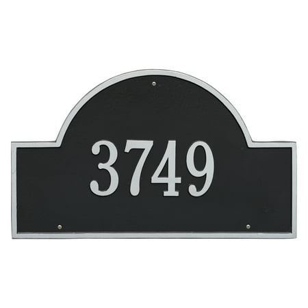 Personalized Whitehall Products Estate One Line Arch Marker Wall Address Plaque in Black/Silver