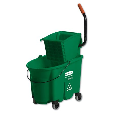 Rubbermaid Wavebrake Down Press (Rubbermaid Commercial WaveBrake 2.0 Bucket/Wringer Combos, Side-Press, 35 qt, Plastic, Green -RCPFG758888GRN)