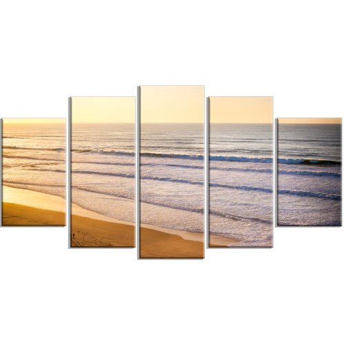 Design Art 'Stunning Orange Sunset Over Beach' 5 Piece Wall Art on Wrapped Canvas Set