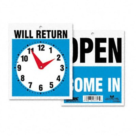 Stores Close By (Open /Walmarte In or Close / Will Return Plastic Flip Sign with Clock 7-1/2 x 9 by, One side announces ''Open'' and weWalmartes with 'Walmarte In.'' Reverse side promises.., By)