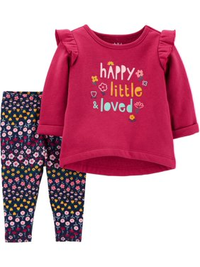 Child of Mine by Carter's Baby Girls Long Sleeve T-Shirt and Pant Set, 2 pc set