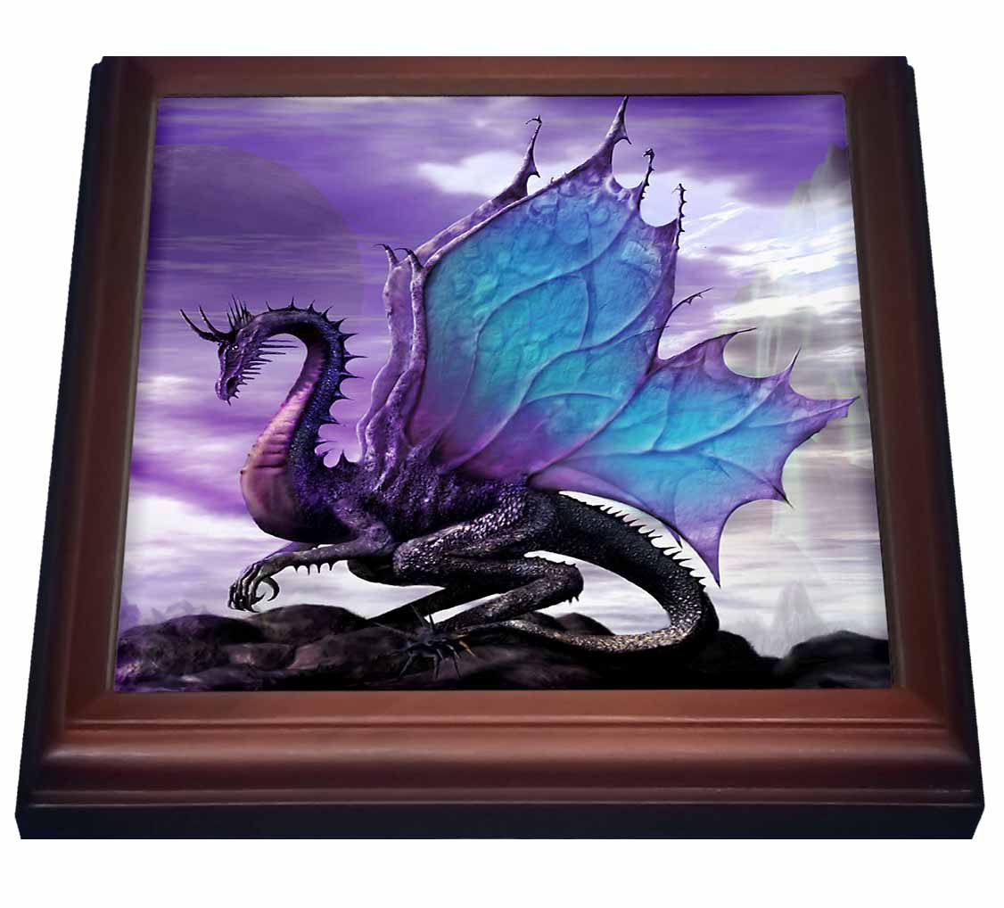 3dRose Fairytale Dragon, Trivet with Ceramic Tile, 8 by 8-inch
