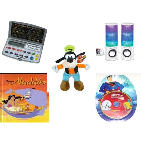 Children's Gift Bundle [5 Piece] - Electronic New York Times Trivia Quiz -  Merkury HUE Universal Dancing-LED Speakers - Just Play Disney Junior Mickey