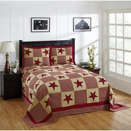 Better Trends Star Twin Bedspread 81 in. X 110 in. with Standard Sham 20 in. X 26 in. Red & Gold ()