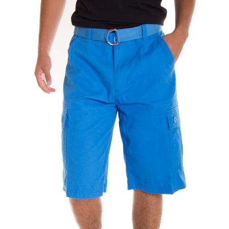 Preppy Green Plaid Shorts (Alta Designer Fashion Men's Cargo Shorts, Twill Belt Included - Multiple)