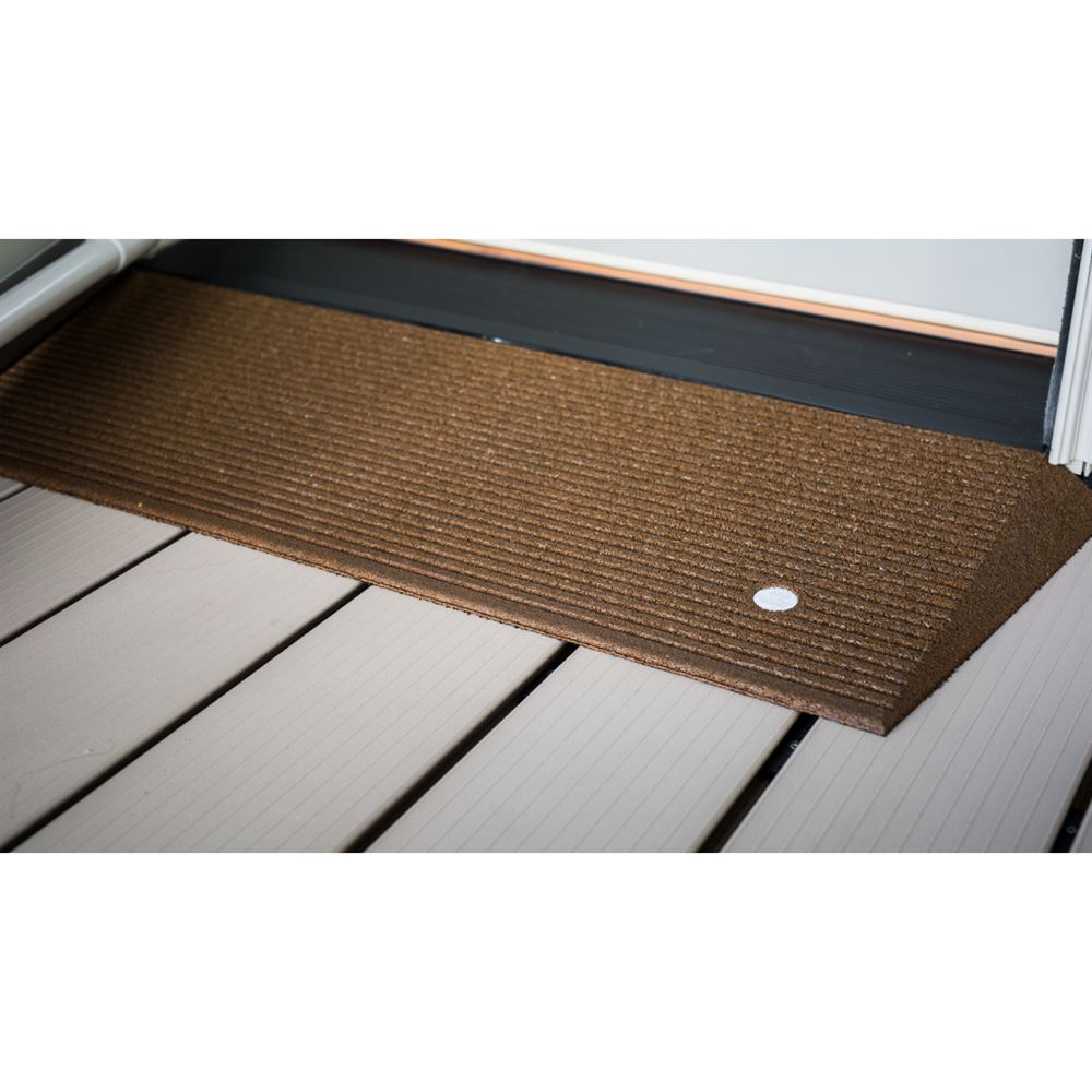 "EZ-Access Transitions Rubber Angled Threshold Ramp - Brown 40"" X 1.5"""