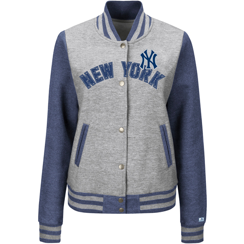 New York Yankees Majestic Women's Stolen Bases Full Button Jacket Gray by MAJESTIC LSG