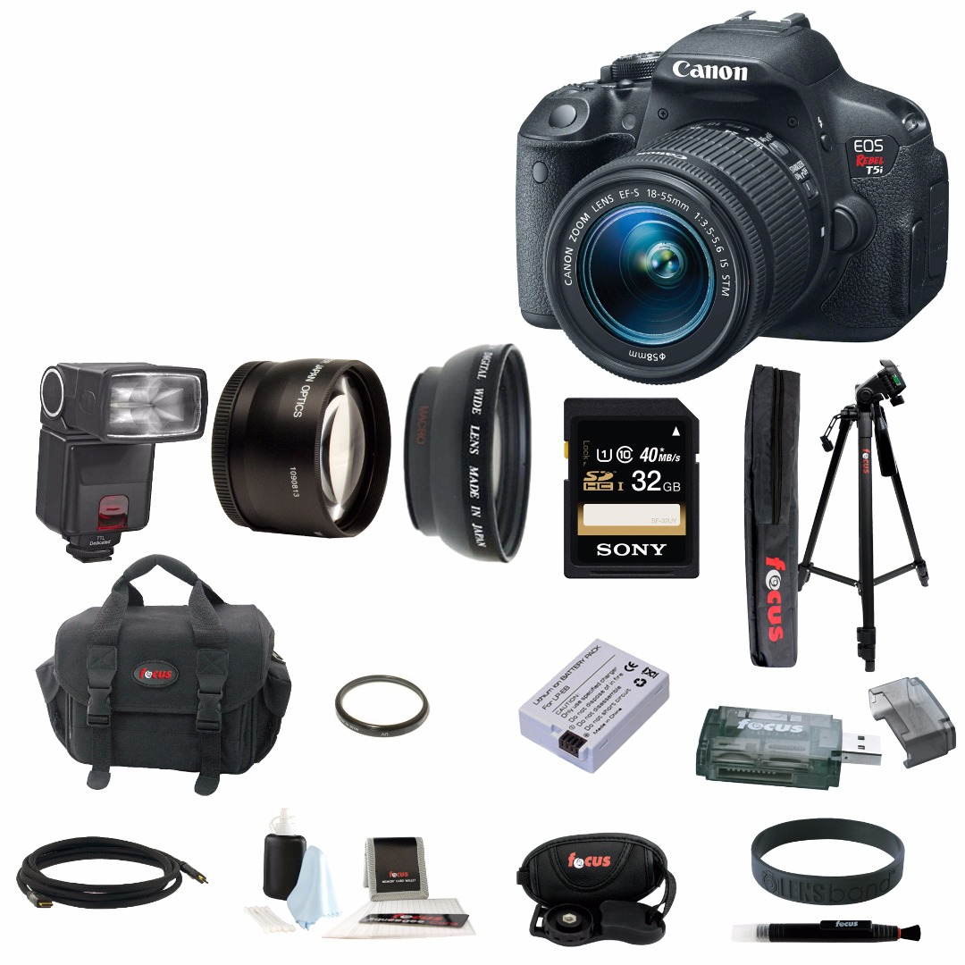 Canon EOS Rebel T5i 18.0 MP CMOS Digital Camera with 18-55mm Lens and 32GB Deluxe Accessory Kit