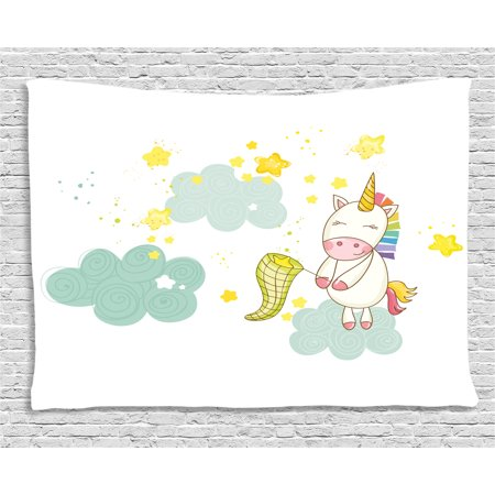 Unicorn Tapestry, Baby Unicorn Girl Sitting on Fluffy Clouds and Hunting Nursery Image , Wall Hanging for Bedroom Living Room Dorm Decor, 60W X 40L Inches, Green Yellow, by - Hunting Nursery Decor