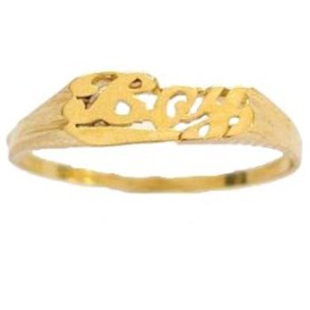 Children's 14K Solid Yellow Gold Baby Boy Ring Kids Size 3 - Rings For Boys