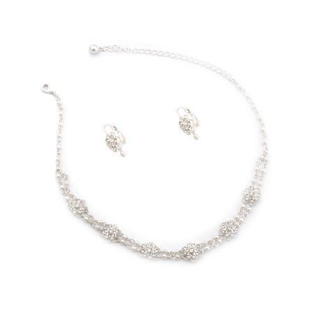 Fashion Jewelry Set Silver Plating Faux Pearl Cluster Necklace Wire Earrings Set