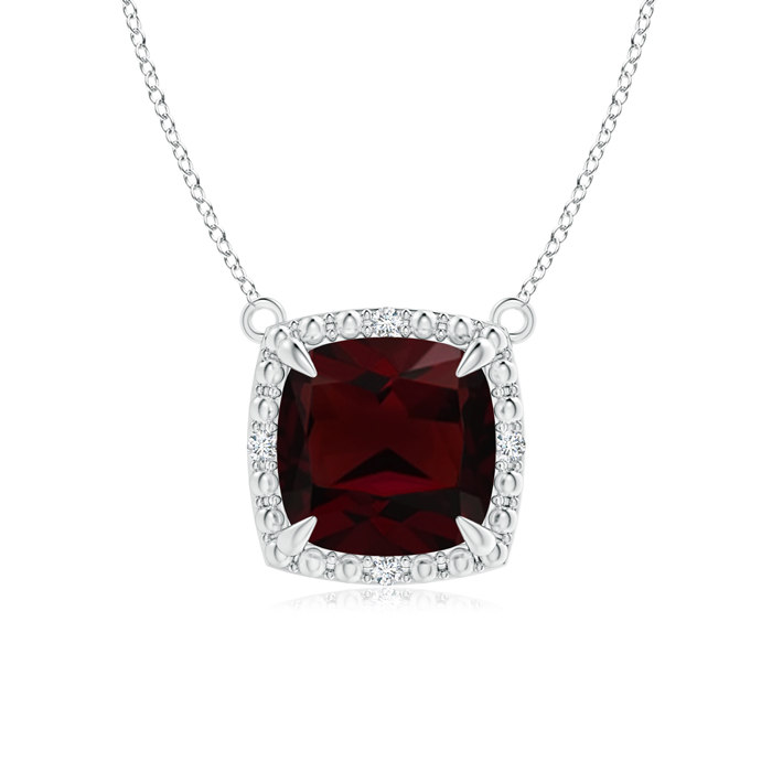 """1.35 carat Cushion Cut Prongs Set Garnet Pendant Necklace With Accent Diamonds in 925 Sterling Silver, 18"""" Inches,... by Angara.com"""