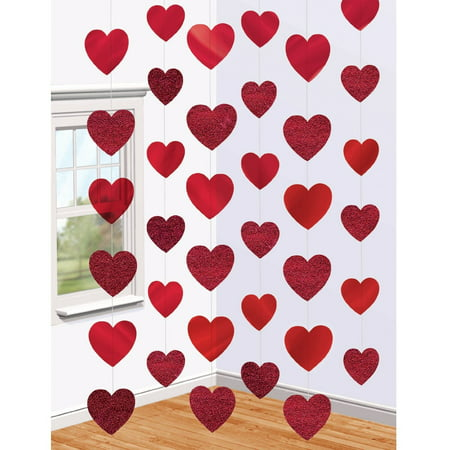 Valentine's Day Party Decorations (6 x 7ft Red Heart String Valentines Day Decorations Engagement Wedding Party)