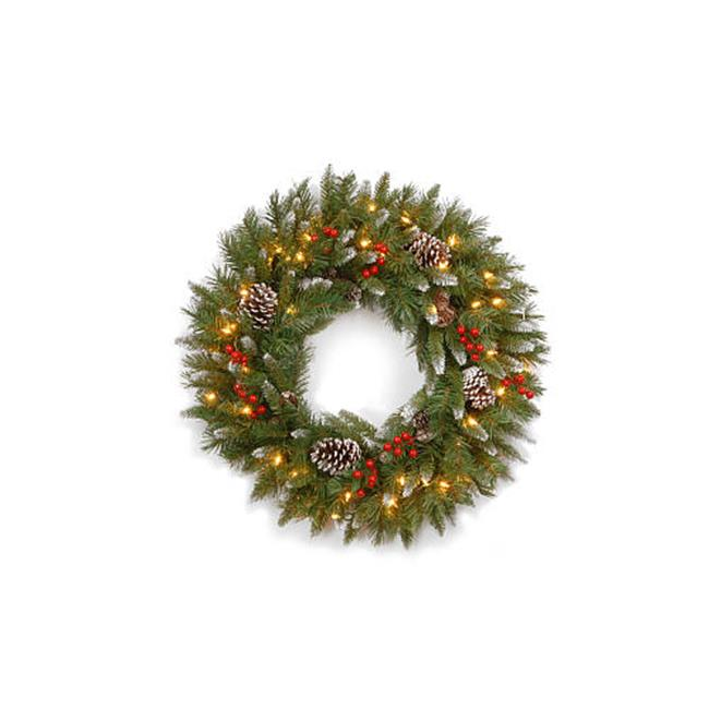 National Tree 24 Inch Pine Cone Wreath with 50 Clear Lights PC-24WLO