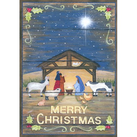 LPG Greetings The Nativity with Holly Border : Annie LaPoint Box of 18 Religious Christmas Cards - Religious Christmas Card Sayings