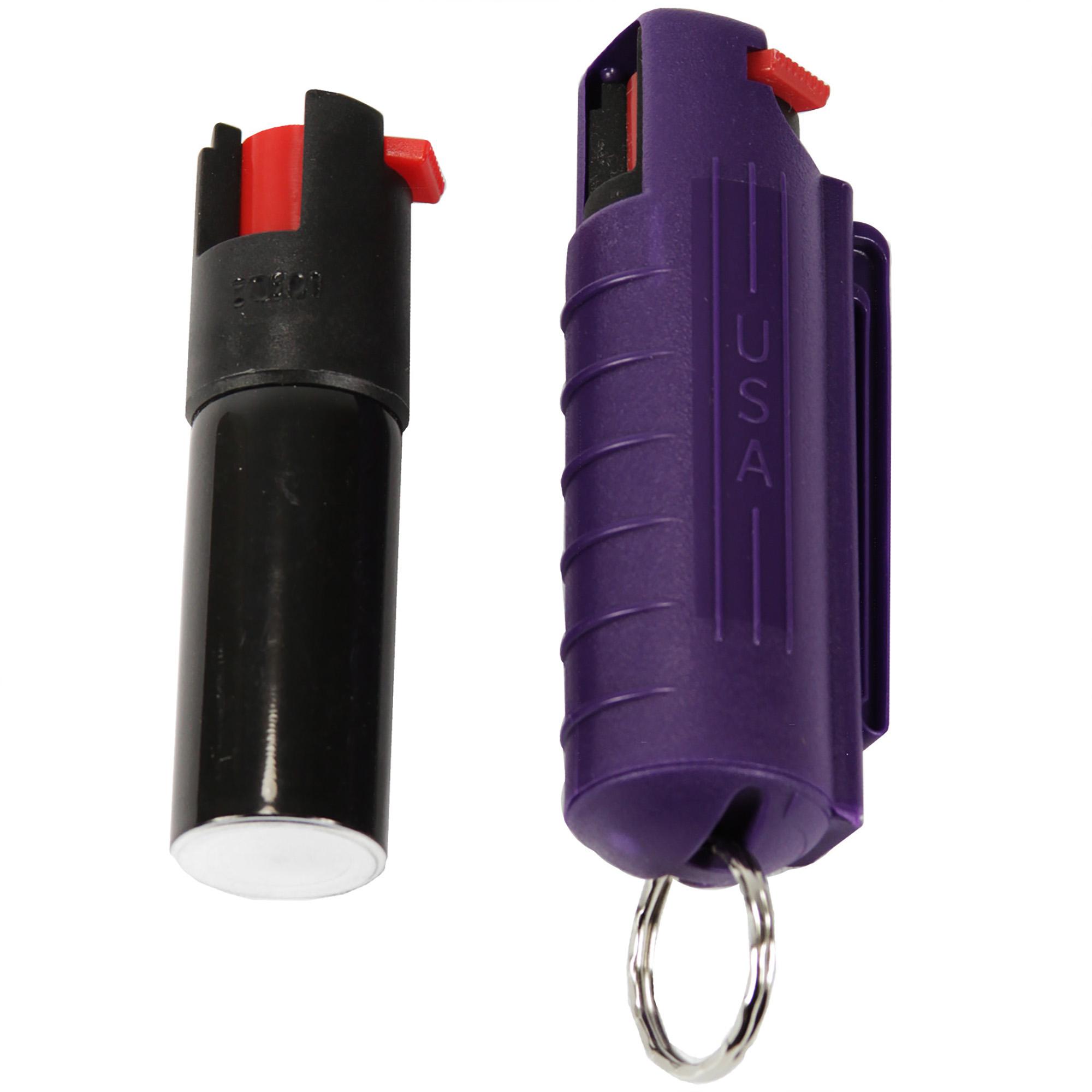 Pepper Spray with Hard Case Key Ring Belt Clip - Purple (0.5 oz)