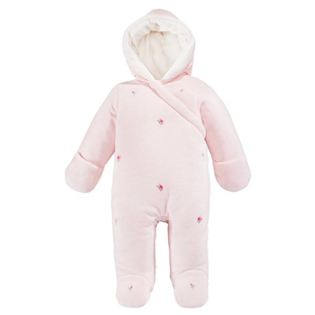 First Impressions Infant Girls Pink Rosette Snowsuit Footed Pram Snow Suit 3-6m