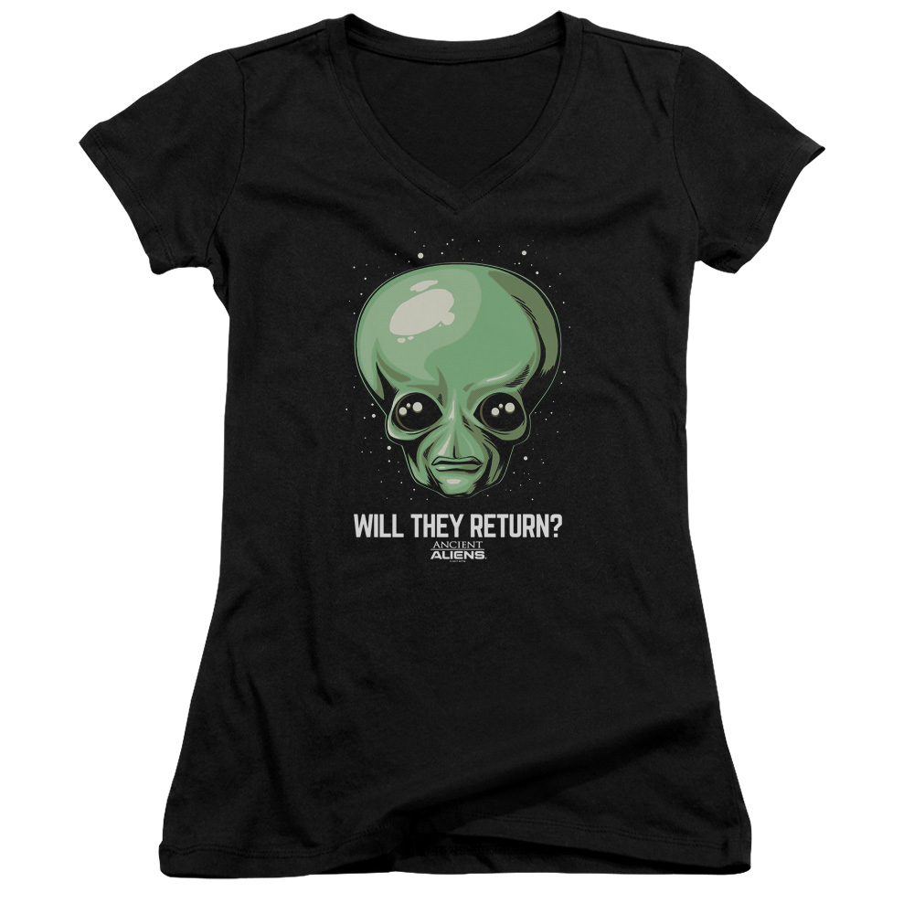 Ancient Aliens Will They Return Juniors V-Neck Shirt