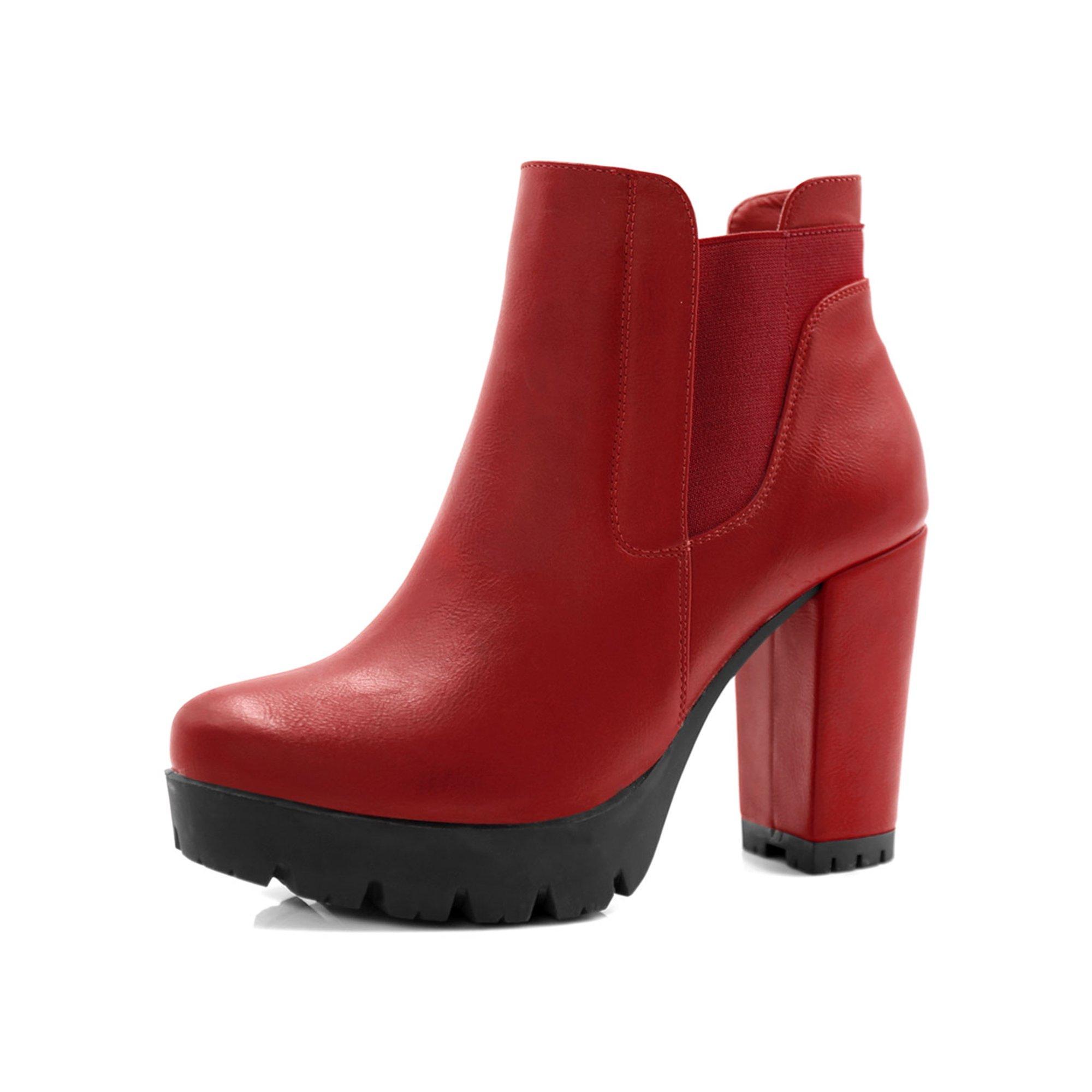 2d7d1f3f7eb Unique Bargains Women's Chunky High Heel Platform Zipper Chelsea Boots  Brown (Size 6)