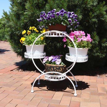 Sunnydaze 4 Tier Ferris Wheel Indoor Outdoor Plant And Flower Stand