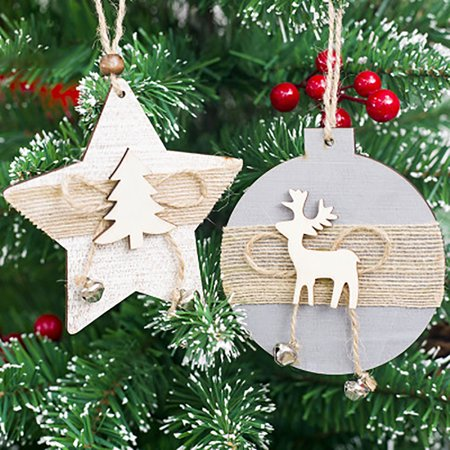 Snowflake Wood Embellishments Rustic Christmas Tree Hanging Ornament Decor - Hanging Snowflakes