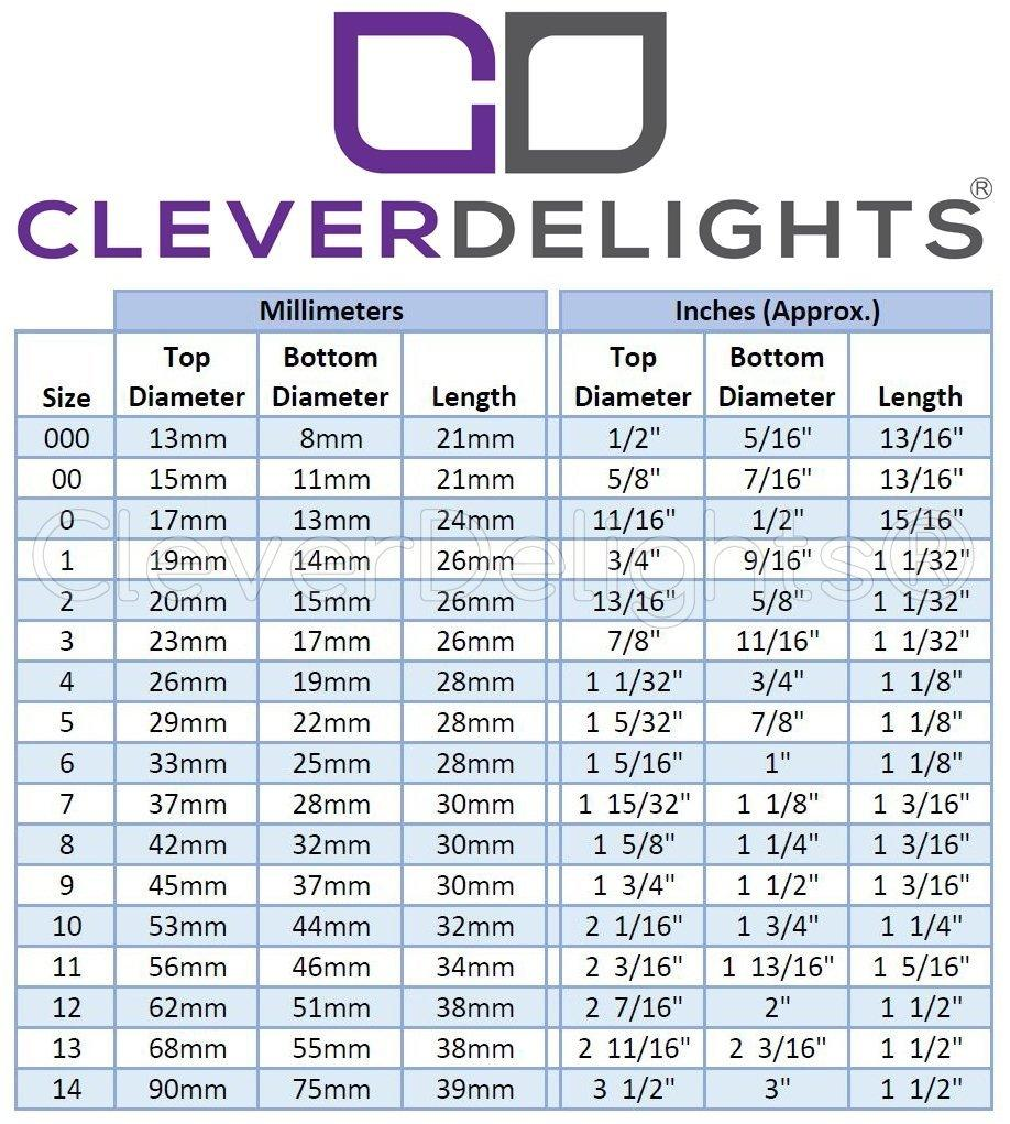 3 Pack - CleverDelights Solid Rubber Stoppers - Size 8 - 42mm x 32mm - 30mm Long - White