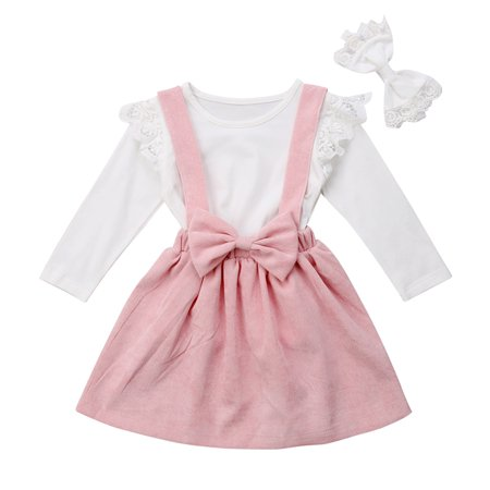 Adorable Toddler Kids Baby Girl Ruffle Tops Suspender Skirt Dress Outfit - Baby Dress Shirt