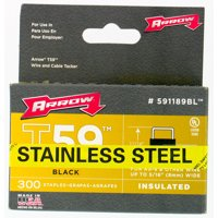 """Arrow T59 Insulated Stainless Steel Black Staples 5/16"""" x 5/16"""" - 300 ct"""