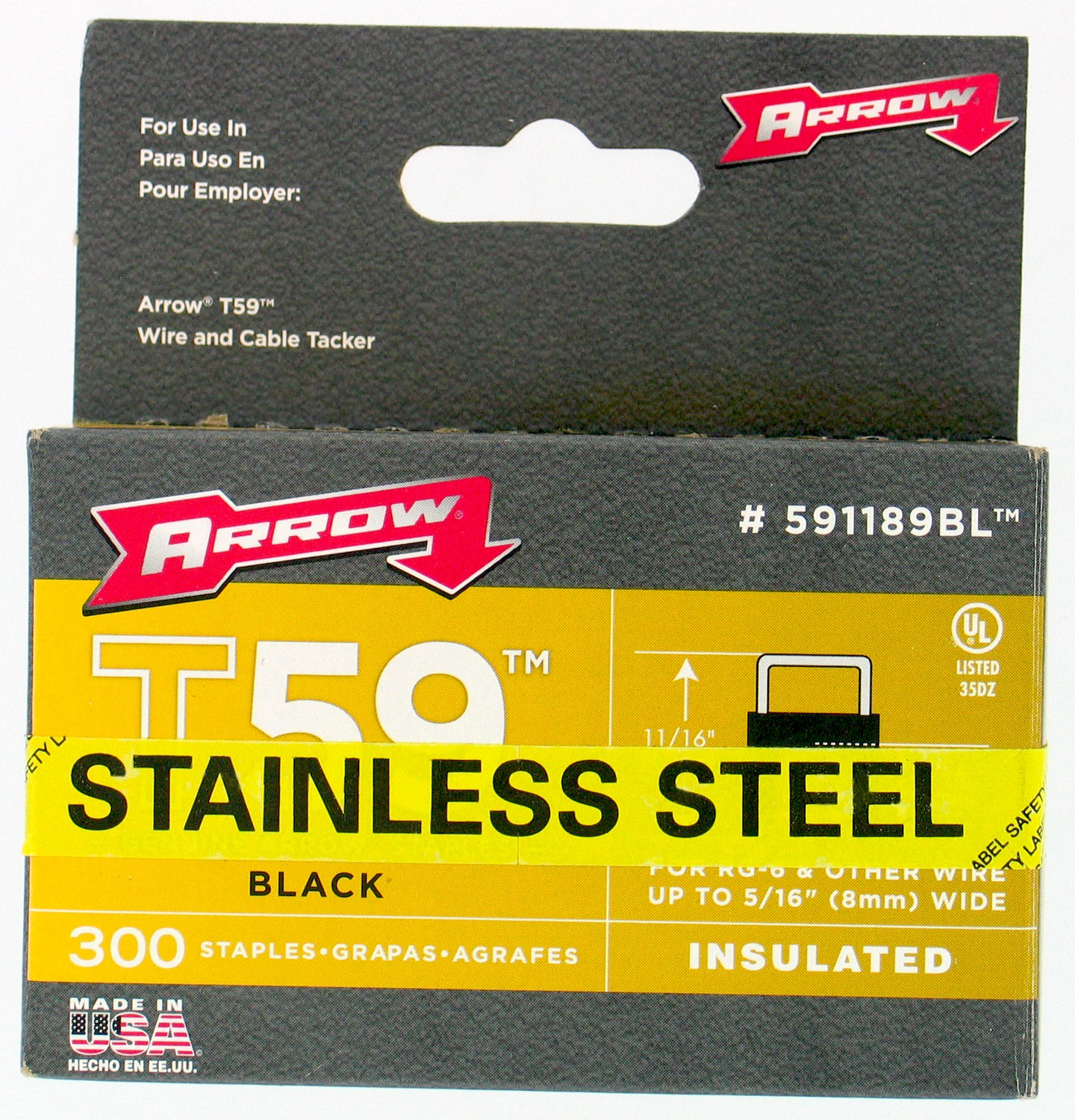 "Arrow Fastener Co. 591189BLSS 5/16"" Black T59 Insulated Staples"