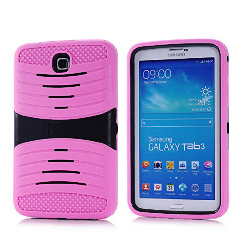 Samsung Galaxy Tab 3 7.0 Hybrid Silicone Case Cover Stand Light Pink