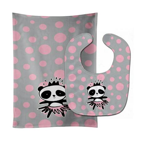 Panda Bear Ballerina Baby Bib & Burp Cloth (Ballerina Cloth)