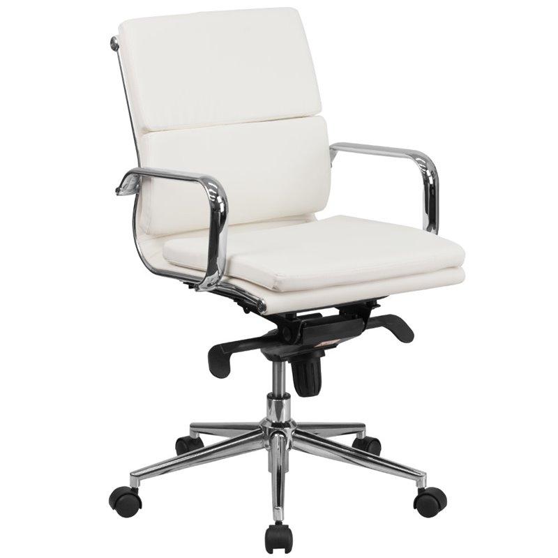 Scranton & Co Mid Back Leather Swivel Office Chair in White
