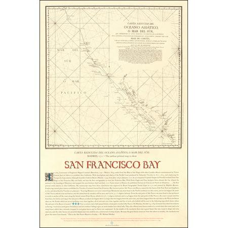 LAMINATED POSTER Carta Reducida Del Oceano Asiatico, O Mar Del Sur . . . The earliest printed map to show San Francisco Bay POSTER PRINT 24 x 36
