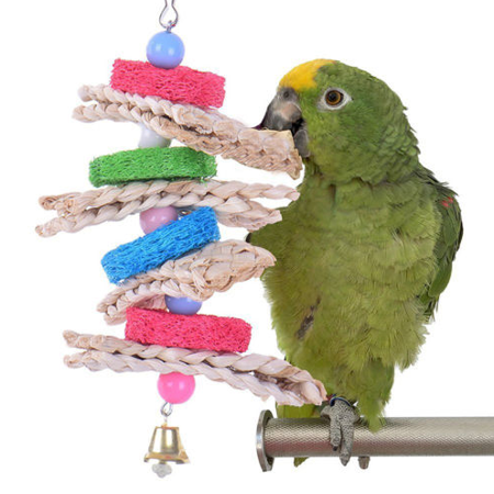 Parrot Bird Cage Hanging Toys Wood Pet Ball Bells Swing Chew Bite Natural Straw