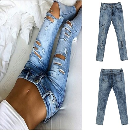 2b89e81630543 FUFUCAILLM - Women ladies hot fashion Destroyed Ripped Distressed holes  Slim pant high waisted casual skinny pencil Denim long Pants Trousers -  Walmart.com