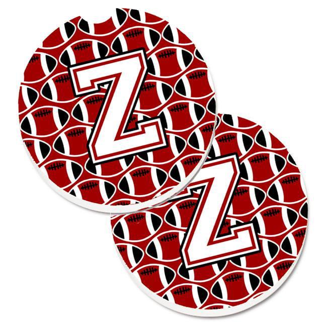 Carolines Treasures CJ1082-ZCARC Letter Z Football Cardinal & White Set of 2 Cup Holder Car Coaster - image 1 de 1