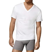 Hanes Men's FreshIQ Comfortsoft White V-Neck T-Shirts, 6 Pack