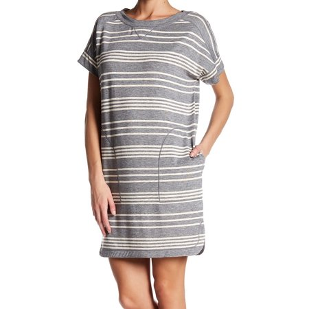Max Studio NEW Gray Womens Size Medium M Striped Pocketed Shift Dress