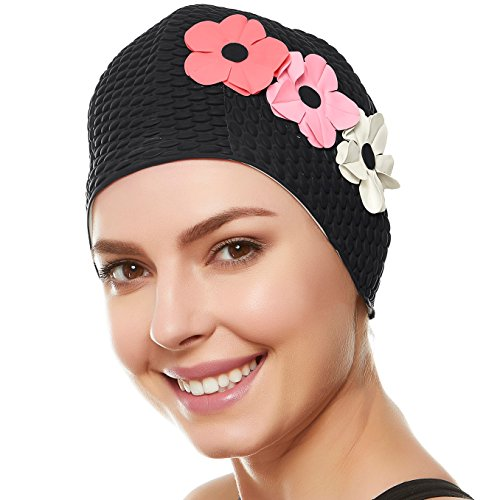 Latex Bubble Crepe Swim Bathing Cap with 3 Flowers for Women- Black with Pink Flowers