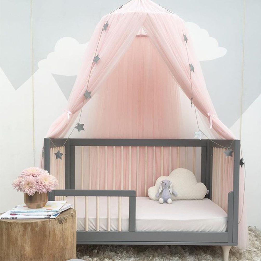 Color : Khaki Tianhaik Princess Bed Canopy Mosquito Net,Kids Baby Bed,Round Dome,Indoor Outdoor Castle Play Tent,Reading Nook Cotton Canvas