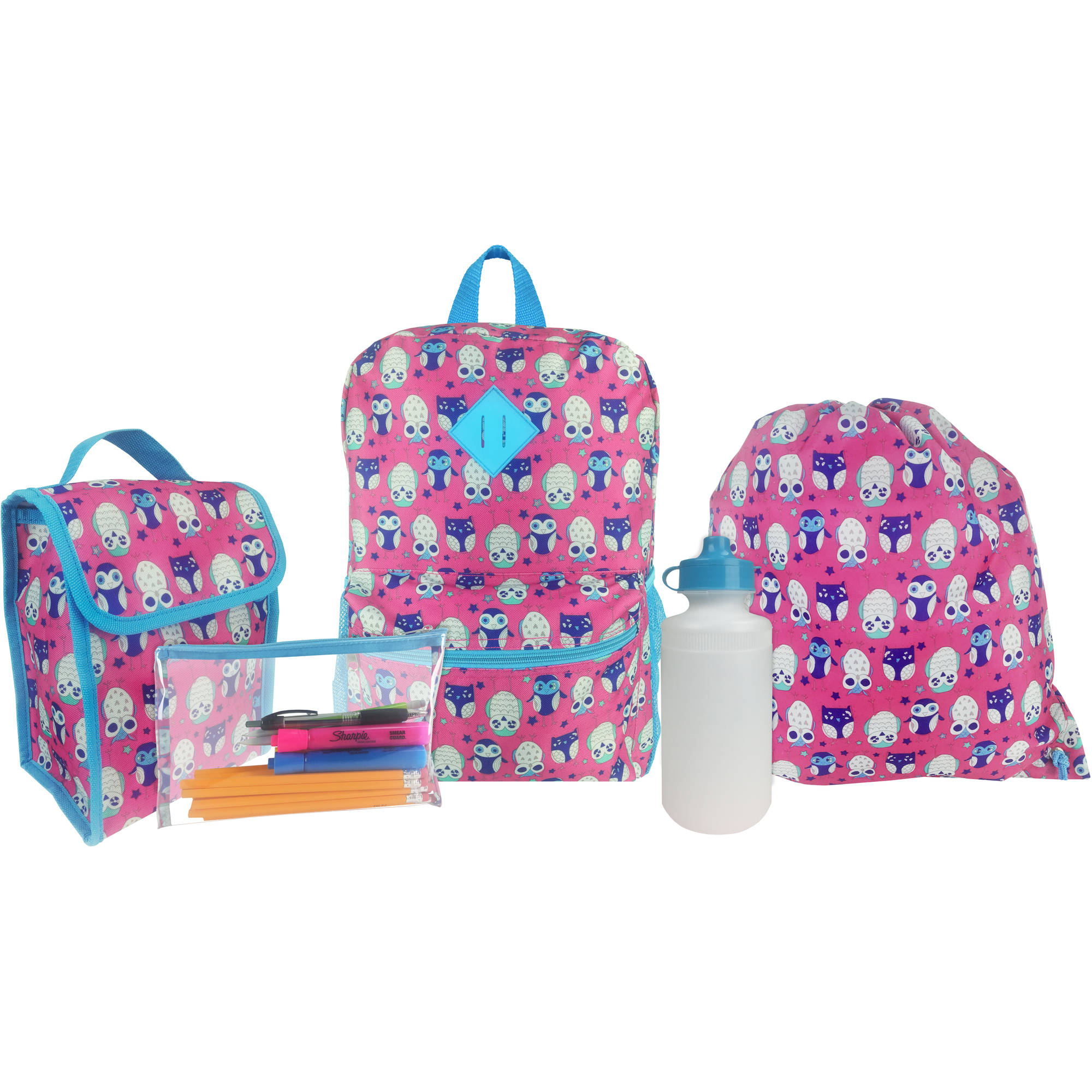 Kids 5 Piece Backpack Wth Lunch Bag, Waterbottle, Cinch Bag And Pencil Case