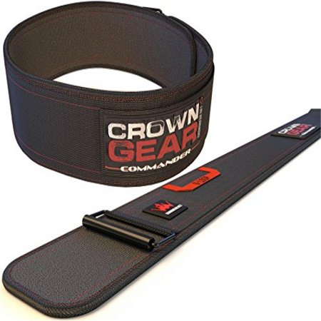 Weightlifting Belt for Gym Fitness Bodybuilding - Crown Gear COMMANDER 4-Inch Weight Lifting Belt for Back Support (Commander, (Crown Gear)