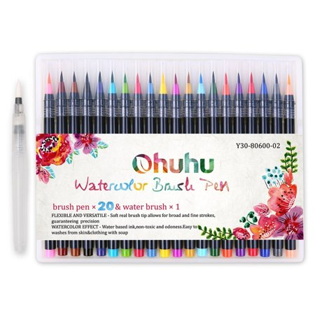 Ohuhu 18 Colors Watercolor Brush Marker Pens W/A Water Coloring Brush, Soft Flexible Tip for Adult Coloring Books, Manga, Comic, Calligraphy ()