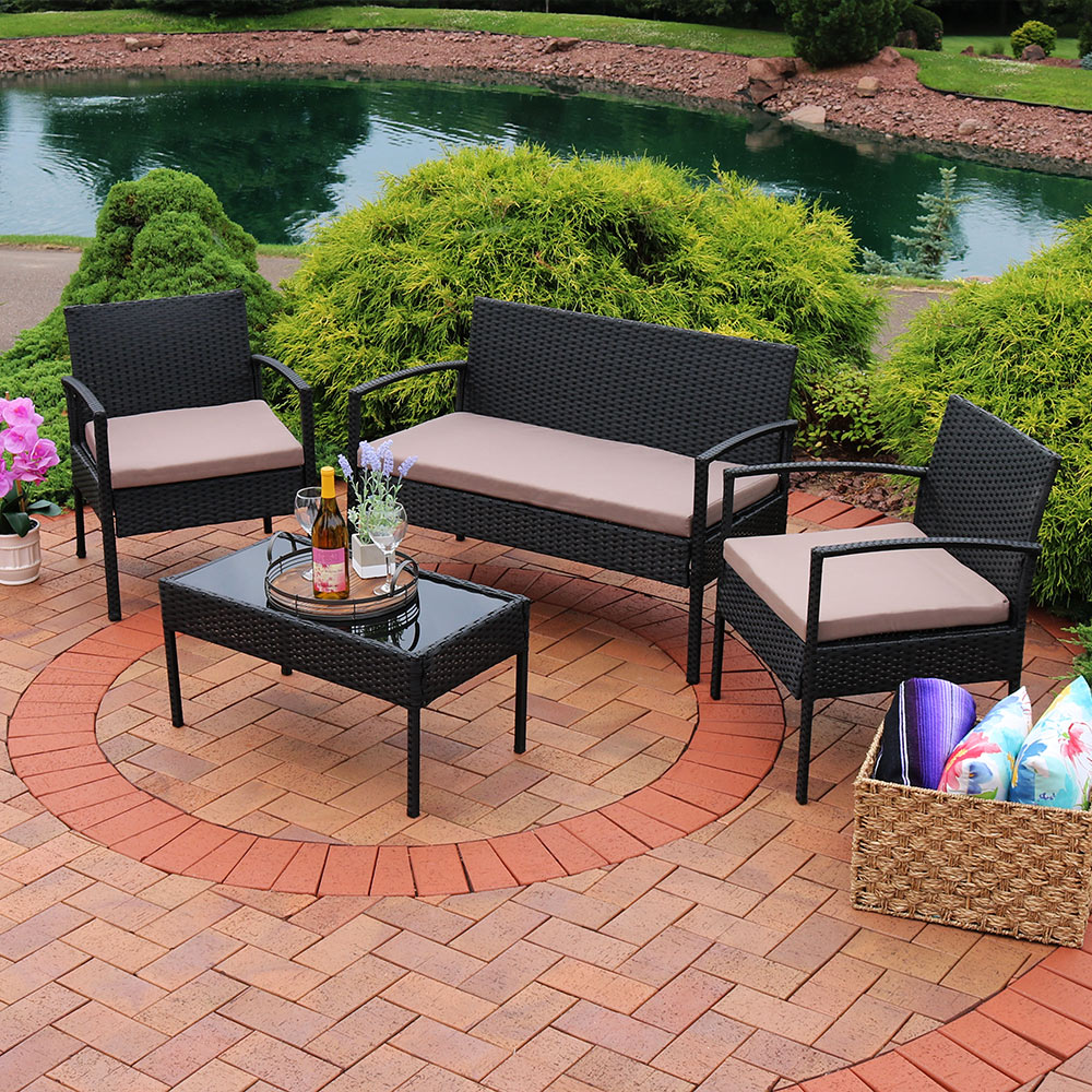 Sunnydaze Anadia 4 Piece Rattan Lounger Patio Furniture Set With Black  Wicker And Taupe Cushions