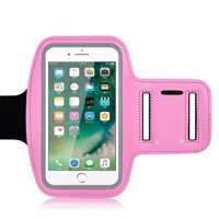 Water Resistant Cell Phone Armband 5.5 Inch Case for iPhone 8, 7, 6, 6S, SE, 5, 5C, 5S, and Galaxy S8 S5, Google Pixel Adjustable Reflective Velcro Workout Band, Key Holder & Screen Protector - Pink