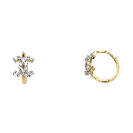 Chanel Cc Logo Earrings (Ioka - 14K Yellow Gold CZ Stone Chanel CC Logo Huggies Hinged Earrings )