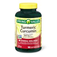 Spring Valley Turmeric Curcumin Vegetarian Capsules with Ginger Powder, 500 mg, 180 Count