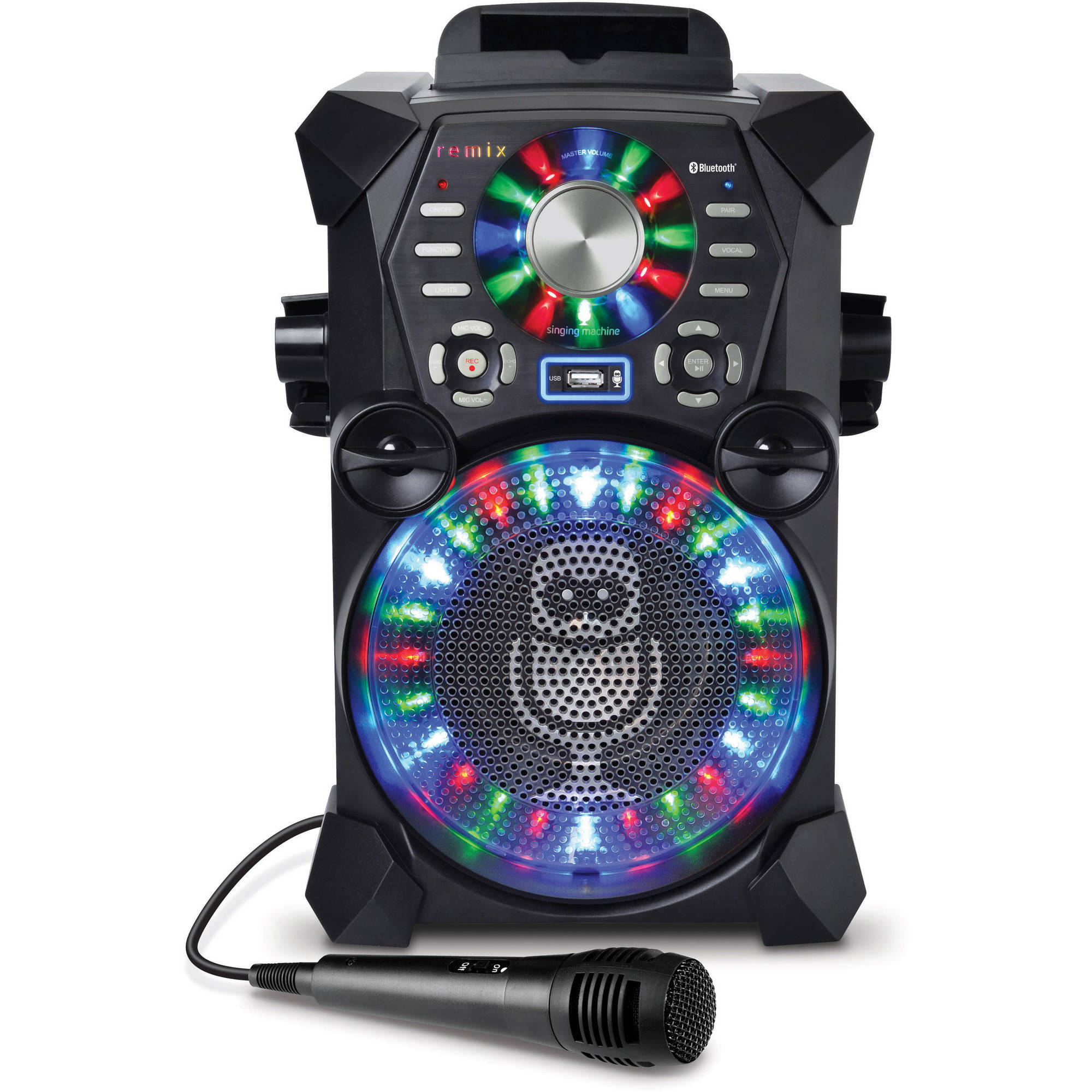 Singing Machine REMIX High-Definition Digital Karaoke System with Resting Tablet Cradle, Wired Microphone and LED Disco Lights