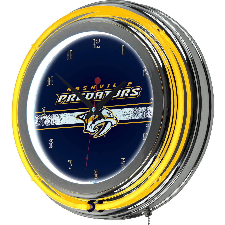 NHL Chrome Double Rung Neon Clock, Nashville Predators