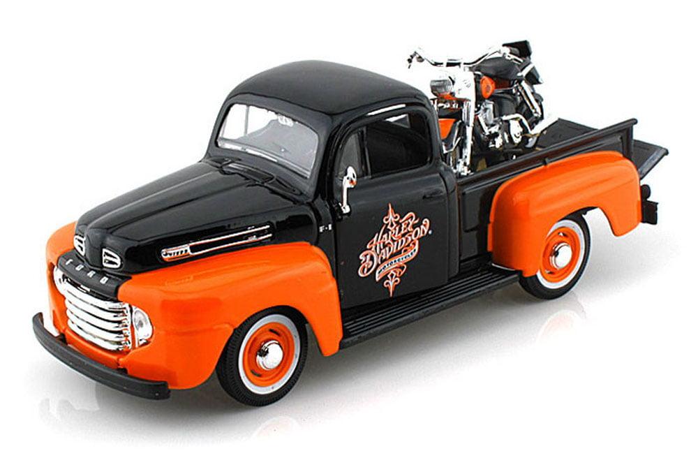 1948 1958 Ford F-1 Pickup Harley-Davidson   FLH DUO Glide Motorcycle, Black & Orange... by Maisto